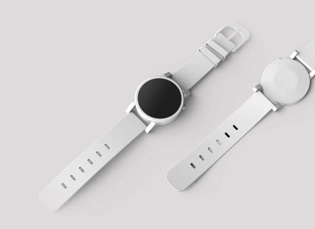 runde weiße Uhr mit weißem Band